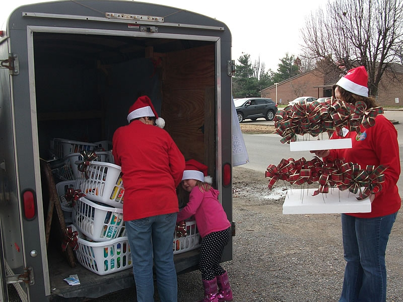 Unloading the baskets at Prairie Grove Apartments in East Prairie