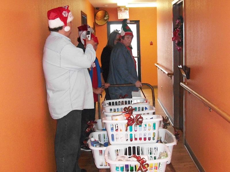 Delivering baskets to grateful residents