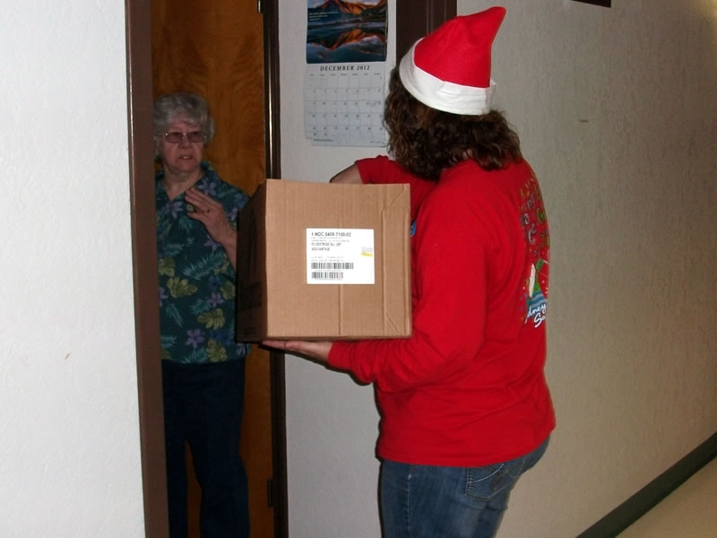 Each resident also received a handmade treat of Hershey\'s Kisses in the shape of a Christmas tree