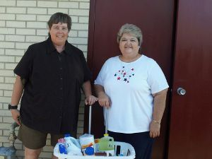 Delivering Baskets to Foster Grandparents Director SaDonna 6-15-12