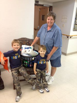 Little helpers Delivering a basket 9-22-12